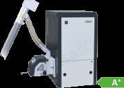 Възможност за изгаряне на нискокачествени дървесни пелети с високо пепелосъдържание; Автоматична настройка на количеството въздух и гориво съобразно избраната от потребителя температура, осигурява висока ефективност на съоръжението при минимален разход на гориво; Автоматична модулация на горивния процес, намаляваща броя на спиранията и запалванията, респективно консумацията на гориво и електрическа енергия; Собствена патентована система от стикери с течни кристали за контролиране на налягането в горивната камера на котела. Това решение осъществява сигнализация при необходимост от почистване на горелката. Управление на циркулационна помпа според температурата на топлоносителя; Работа със стаен термостат или седмичен програматор; Компактно управление, интерфейсно табло и изнесени в задния край на котела конектори; Лесно регулиране на топлинната мощност в широк диапазон; Възможност за работа със стаен термостат (седмичен програматор); Атрактивна цена и ниски експлоатационни разходи; Ниски вредни емисии; Защити от обратен огън и замръзване на топлоносителя; Защита на циркулационна помпа от блокиране; Управление на вентилатор за димни газове; Отговарят на най-строгите европейски изисквания и норми (EN 303-5); Котлите се предлагат в два варианта, за ляв или десен монтаж на горелката; Управление на пелетната горелка през GSM модул (опция), чрез изпращане на SMS команди – възможност за спиране, пускане и преглед на текущото й състояние.